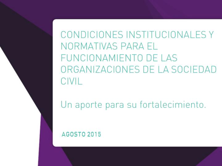Condiciones institucionales y normativas para las ONG